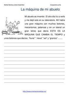 Escritura creativa; El muñeco de Nieve Parlanchín y La Máquina Meteorológica - Orientacion Andujar
