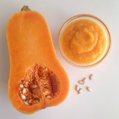 Gresskarpuré   lagbarnemat Butternut Squash, Baby Food Recipes, Granola, Cantaloupe, Fruit, Recipes For Baby Food, Squash, Muesli
