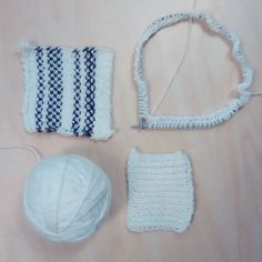 Swatches and first rows . Stripe stitch is Linen Stitch, found website. Linen Stitch, Purl Soho, Deep Breath, Knitting Yarn, Swatch, Throw Pillows, Photo And Video, Website, Handmade