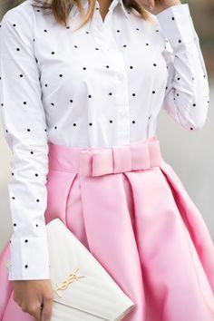 pink maxi skirt and polka dot shirt | laceandlocks