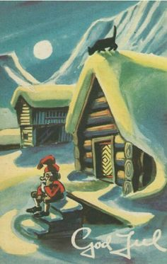Julekort Kjell Dyrhaug utg Damm brukt 1940-tallet Christmas Cards, Christmas Postcards, Norway, Disney Characters, Fictional Characters, Magic, Disney Princess, Painting, Art