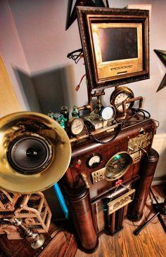 Vocal Enhancement Emitter with Aether modulation - steampunk karaoke machine. $1,200.00, via Etsy.