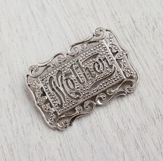 Antique Art Deco Mother Brooch - Vintage Sterling Silver Tone Marcasite Filigree Jewelry / Floral Script