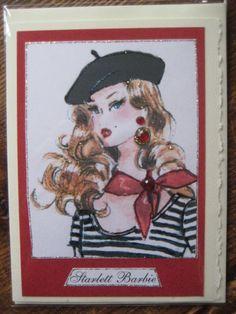 """vintage barbie """" starlett barbie"""" note card"""