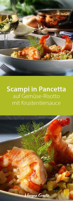 Scampi in Pancetta auf Gemüse-Risotto mit Krustentiersauce