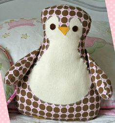 Penguin Pillow by Gingercake. PDF Sewing Pattern to be purchased.