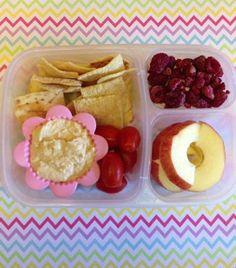 Hummus, pita chips, grape tomatoes, yogurt with frozen raspberries and apple slices.