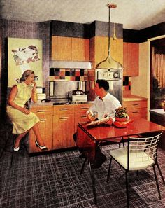 """""""The American Home"""" magazine - January 1956.  Timeless cabinets and light fixture."""