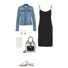Denim jacket+black slip dress+nude sandals+handbag+hoop earrings+gold necklace. Summer Casual Date Outfit 2021