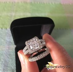 14K White Gold Over Womens Princess Diamond Engagement Ring Wedding Bridal  Set