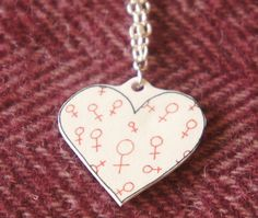 1fa864642 Items similar to SALE Venus symbol pendent, heart-shaped pendent. Handmade,  on silver nickel chain. Cute feminist necklace, excellent feminist  jewellery. on ...