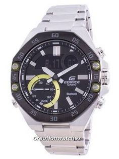 Stainless Steel Case and Bracelet, Quartz Movement, Mineral Crystal, Black Dial, Analog Digital Display, Double LED Light, Mobile Link. Stainless Steel Bracelet, Stainless Steel Case, Mens Watches For Sale, Mens Watch Brands, Casio Edifice, Seiko Automatic, Victorinox Swiss Army, Watch Model, Casio G Shock