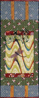 japanese scroll with beaded dragonfly and sashiko beading on