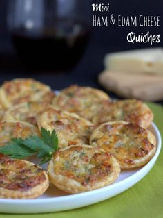 Mini Ham & Edam Cheese Quiches.  These make great canapes or can be tucked into children's lunchboxes.  Great served hot or cold, and they freeze well. | thecookspyjamas.com