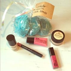 Makeup beauty bundle Bare Minerals brightening serum foundation with spf 20 in shade medium. Femme Couture concealer in shade light. Sally girl lip glosses in burgundy & light pink. Sephora radiant rosy lip pencil & lavender vanilla bath bombs. All makeup has only been used once or twice and has been sanitized & and bath bombs are brand new! bareMinerals Makeup Concealer
