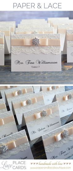 Lace Escort Cards with Crystal Snowflake Button - Ivory and Blush - by PAPER & LACE