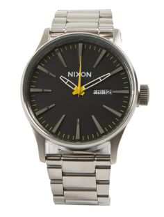 Nixon  Sentry Stainless Steel Grand Prix - This Nixon Watch is the quintessence mix of clean and cool. The timeless style offers a vintage feel and is a great addition to any man's watch collection.