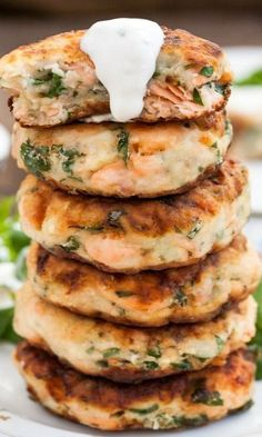 Salmon Cakes with Chive and Garlic Sauce - I'm not big on fish because I live in the desert, but this seems good enough to try.