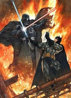 This awesome piece of artwork comes from the brilliant mind of Dave Dorman. I'm not sure which is better: Batman vs. Darth Vader, or Batman vs. Star Wars Film, Star Wars Art, Batman Vs, Evil Batman, Batman Fight, Batman Versus, Comic Books Art, Comic Art, Comic Pics