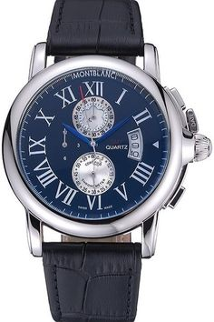 $199.00 - Replica Mens MontBlanc Quartz Watch With Stainless Steel Case And Black Leather Strap