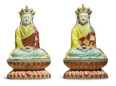 Two Extremely Rare Famille-Rose Figures of Ksitigarbha, Qing dynasty, Qianlong-Jiaqing period Oriental, Chinese Ceramics, Guanyin, Japanese Pottery, Qing Dynasty, Chinese Antiques, Art Auction, Chinese Art, Asian Art