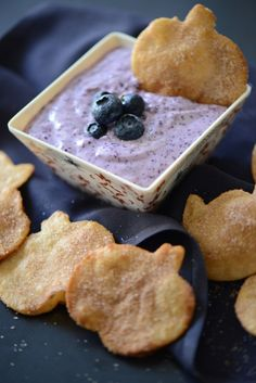 Halloween Cinnamon Sugar Crisps with Sweet and Fluffy Blueberry Dip