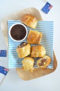 australia day sausage rolls made with lamb, feta and mint