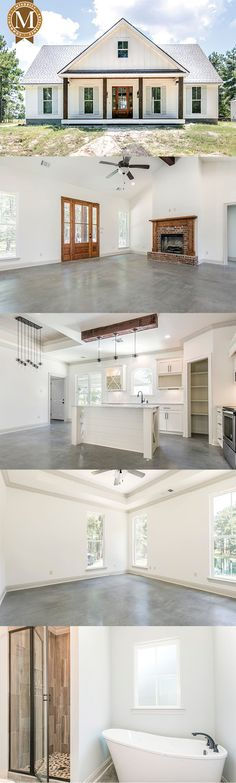 David Farmhouse - Living Sq Ft: 1656 Bedrooms: 3 B Farmhouse Floor Plans, Farmhouse Flooring, Modern Farmhouse Exterior, New House Plans, Small House Plans, Lake Charles, Pole Barn Homes, Abandoned Houses, My Dream Home