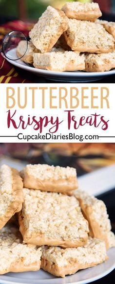 This is the treat for Harry Potter fans! Butterbeer Krispy Treats would be perfect for your next Harry Potter themed gathering.
