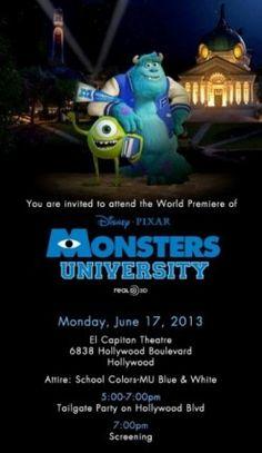 Monsters U Premiere Enrollment #MonstersUPremiere