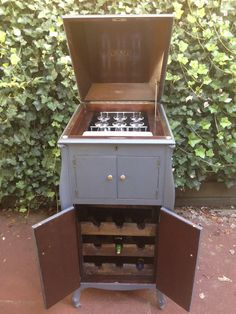 Antique Victor Victrola Phonograph repurposed into a Wine Bar. By Repurposed Creations