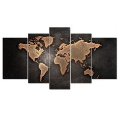 Canvas Wall Art 5 Panel World Map Abstract Oil Painting Giclee Ready to Hang #Abstract