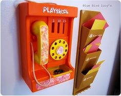 Nice office. Toy phone and letter rack