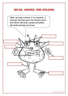 Students have to writhe the part of the body in the right box, then they have to read and colour the monster according to the text. Vocabulary: Body parts English Worksheets For Kids, English Lessons For Kids, English Activities, English Class, Learn English, English Games, English Language Learning, Teaching English, Body Parts For Kids