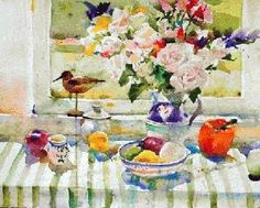 Charles Reid Watercolors Art Aquarelle, Drawing Studies, Flower Watercolor, Window Art, Still Life Art, Watercolour Tutorials, Daily Bread, Famous Artists, Figure Drawing