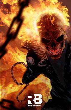 Ghost Rider pin-up by Ryan Benjamin