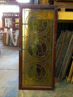 Large Antique Stained Glass Panel