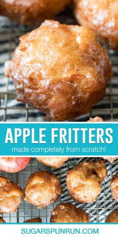 Apple fritters are somewhat sweet, tender, and fluffy, and are absolutely packed with flavor. Dip them in a 3 ingredient apple cider glaze or roll them in cinnamon/sugar and enjoy!
