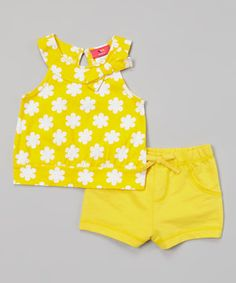 Love this Weeplay Kids Aspen Gold Flower Bow Top & Shorts - Infant & Toddler by Weeplay Kids on #zulily! #zulilyfinds