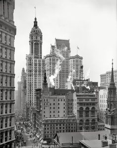 "Manhattan circa 1910. ""Singer Building down Broadway from the post office."" 8x10 inch dry plate glass negative, Detroit Publishing Company."