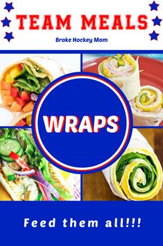 Meal ideas featuring wraps to jazz things up for your next game or tournament. Team Meal ideas featuring wraps to jazz things up for your next game or tournament. Sports Snacks, Team Snacks, Sports Food, Cold Lunches, Cold Meals, Team Dinner, Vegetarian Wraps, Gluten Free Wraps, Volleyball Tournaments