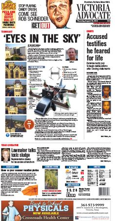 Here is the front page of the Victoria Advocate for Thursday, Aug. 15, 2013. To subscribe to the award-winning Victoria Advocate, please call 361-574-1200 locally or toll-free at 1-800-365-5779. Or you can pick up a copy at one of the numerous locations around the Crossroads region.