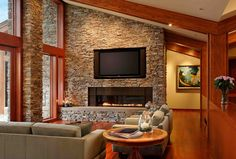 Moose Mountain Stack Stone Thin Veneer from Montana Rockworks #stone #thin veneer #design ideas #natural stone #contemporary #interior #fireplace