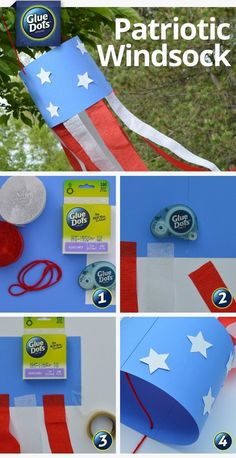 Great craft for kids! All you need are crepe paper, cardstock, and star shapes to make a of July wind sock. Pick up supplies ahead of time and set everything up for the kids to make their own windsock at your of July picnic. Preschool Themes, Preschool Crafts, Fun Crafts, Bible Crafts, 4th July Crafts, Patriotic Crafts, Fourth Of July Crafts For Kids, Toddler Art, Toddler Crafts