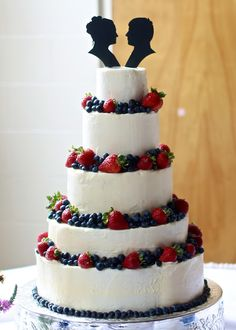 Yammie's Noshery: Wedding Cake with Berries and Silhouette Toppers