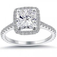 2.82 Carat G-VS2 Radiant Cut Diamond Engagement Ring 18k Pave Halo Vintage Style - Vintage Style Engagement Rings - Engagement - Lioridiamonds.com
