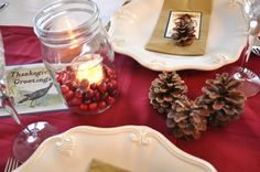 Love the mason Jars and cranberries  Thanksgiving Table | Pauleenanne Design