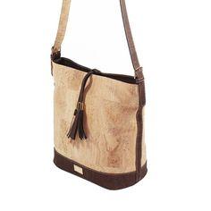Cork Hobo Bag in Natural and Brown - Beyond Bags Ceramic Design, Line Design, Hobo Bag, Cork, Bucket Bag, Dust Bag, Shoulder Strap, Ipad, Base