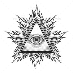 All seeing eye pyramid symbol in the engraving tattoo style. - All seeing eye pyramid symbol in the engraving tattoo style. Freemason and spiritual, illuminati and - Third Eye Tattoos, All Seeing Eye Tattoo, Dreieckiges Tattoos, White Tattoos, Ankle Tattoos, Arrow Tattoos, Word Tattoos, Pyramid Eye, Tatoo