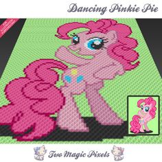 Dancing Pinkie Pie crochet blanket pattern; knitting, cross stitch graph; pdf download; pony; no written counts or row-by-row instructions by TwoMagicPixels, $3.79 USD